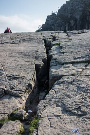 A crack on the plateau - ultimately, the cliff will fall down into the Lysefjord but geologists say that this will not happen in the foreseeable future.
