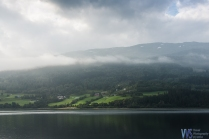 Early morning mists over one of the fjords - note the snow patches in the mountains...